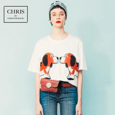 2018新款LQKing女士狗图案T恤贴布设计明星款christopherbu