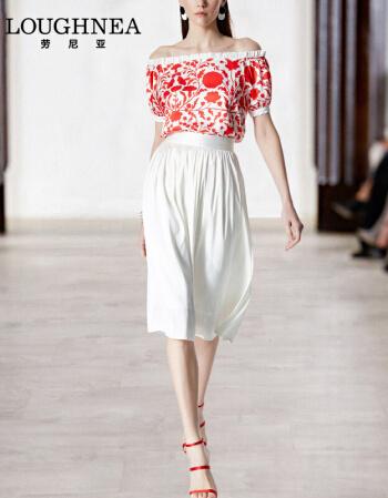 LQKing LOUGHNEA 2018夏季新款欧美时尚气质淑女一字肩套装裙女夏季露肩两件套薄款