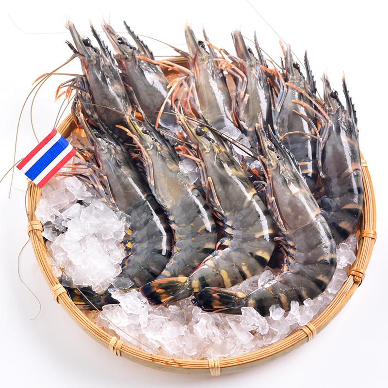 泰国活冻黑虎虾(大号) 400g 16-20只/盒 原装进口