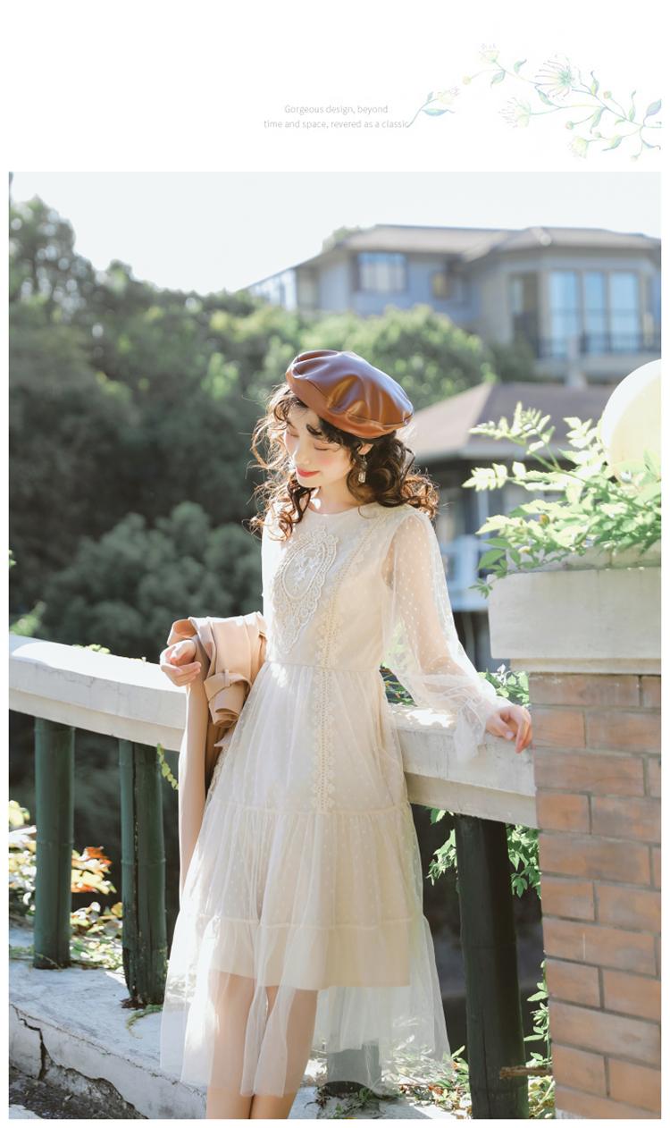 2020春季新款文艺复古仙女裙超仙甜美蕾丝网纱收腰内搭打底连衣裙