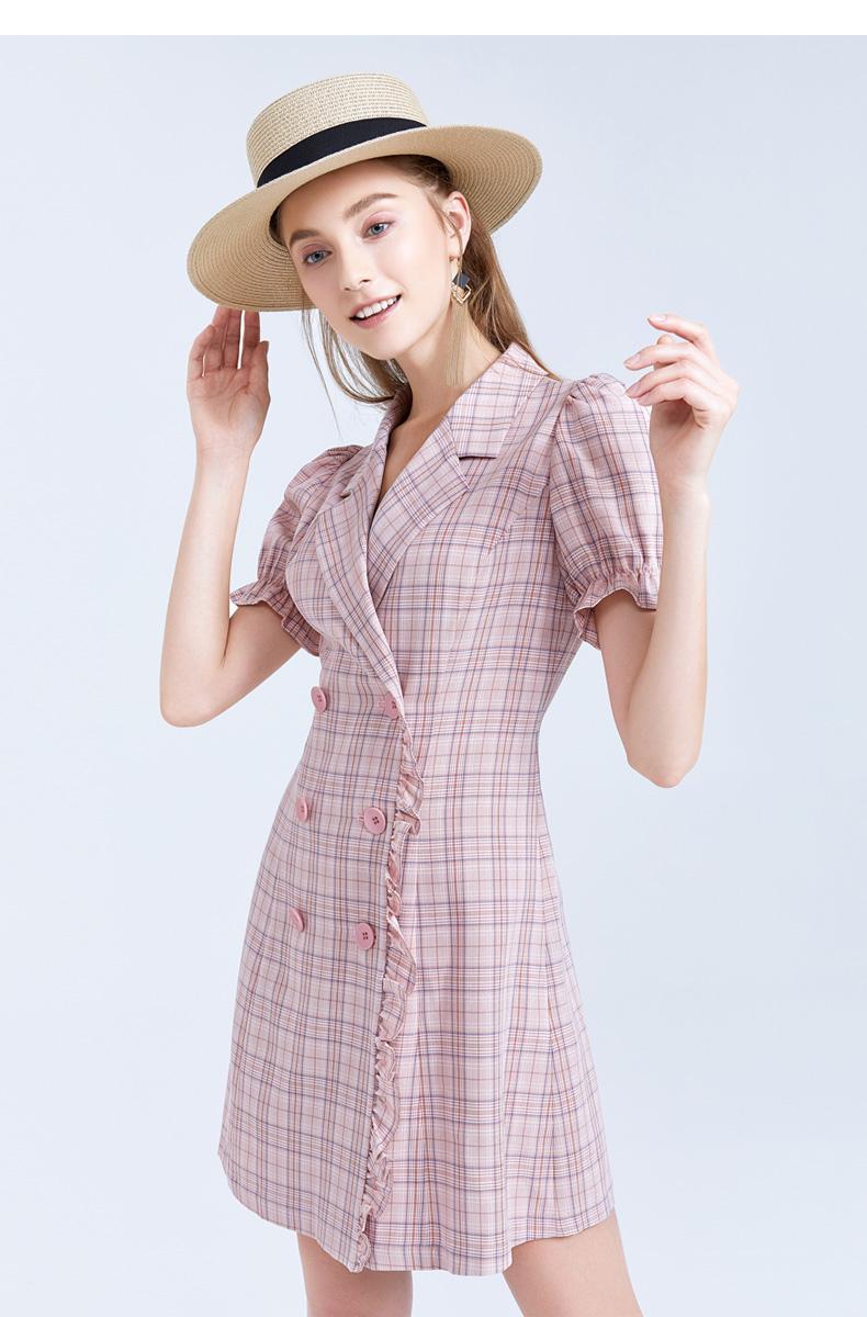 FIVE PLUS2019新款女夏装格子连衣裙女泡泡袖短袖双排扣收腰裙子