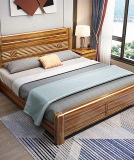 2020新款乌金木实木床1.8M中式双人床简约现代储物床主卧木质家具