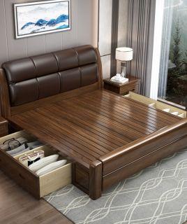 金丝胡桃木全实木床软包床主卧1.8米新中式双人床现代简约轻奢床